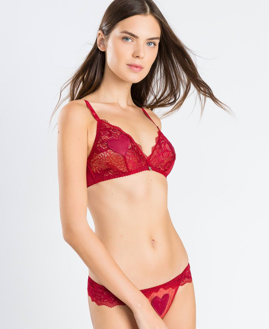 "Lace triangle bra with hearts ""Reddish"" Red Woman LA8A22-02"