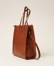 Vertical shopper with logo Leather Brown Woman 212TB7060-03
