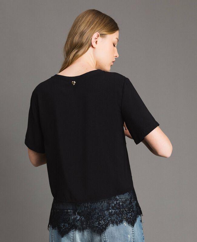 Blouse avec strass et dentelle Noir Femme 191MP2451-04