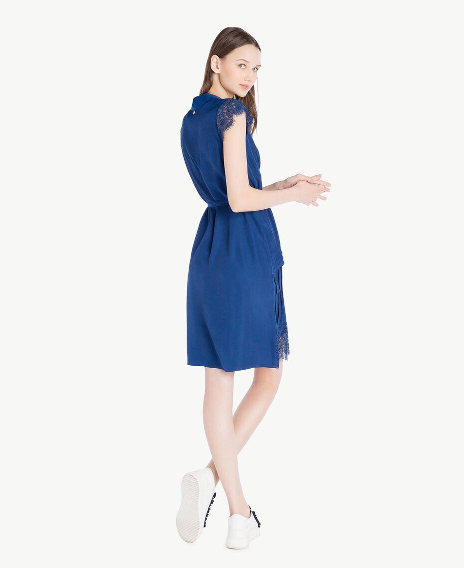 """Kleid mit Spitze """"Navy Peony""""-Blau Frau SS82GQ-03"""