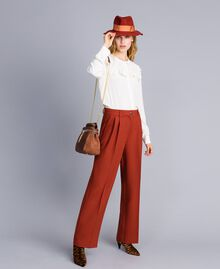 Pantaloni palazzo in lana bistretch Bruciato Donna TA8272-0T