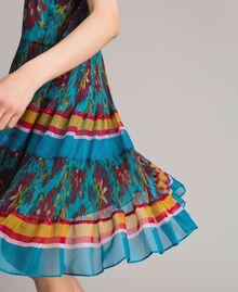 Robe en chiffon à imprimé motif floral Multicolore Chiné / Rayures Bleu Céramique Femme 191TT2364-05
