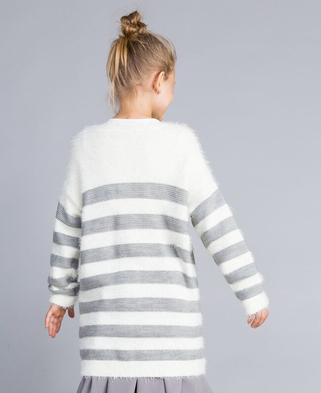 """Maxi maglia in misto lana a righe Bicolor Off White / Grigio """"Grey Stone"""" Bambina GA83E1-03"""