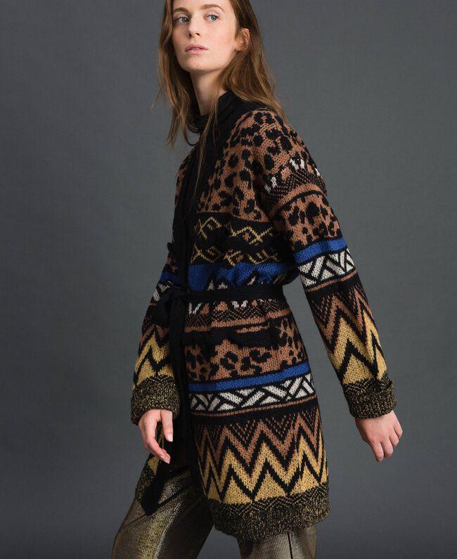 Wool and mohair cardigan with jacquard patterns Geometric Animal Print Mix Jacquard Woman 192ST3191-04