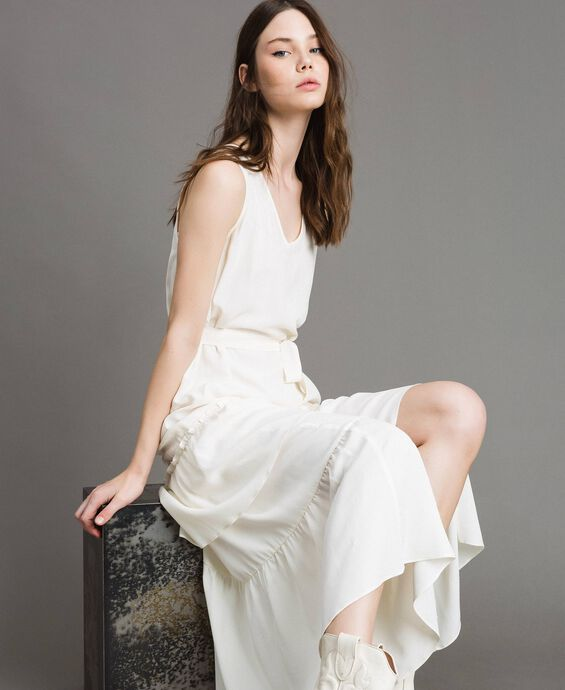 Silk-mix long dress