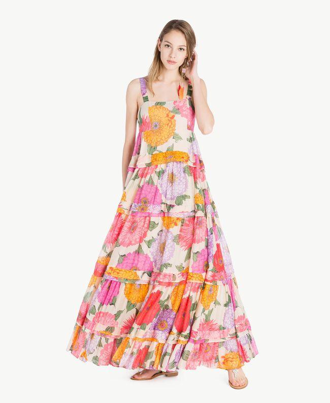 Langes Kleid aus Musselin Makropfingstrosen-Print Frau TS825C-01