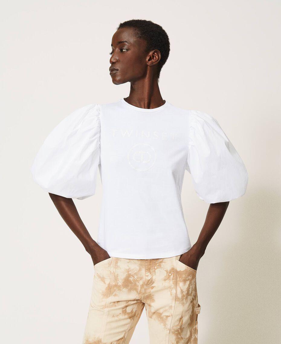 T-shirt with glitter logo print White Woman 211TT2513-01