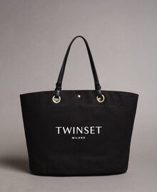 Large canvas shopping bag with logo Black Woman 191TO8202-01
