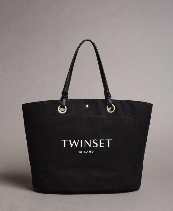 Large canvas shopping bag with logo