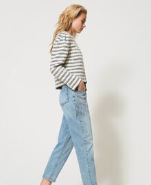 "Striped bouclé jacket ""Ivory Mat"" Grey / Blue Light Stripe Woman 211TT2051-05"