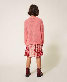 """Длинный кардиган из смесового мохера, вязаный косичками Розовый """"Персиковый цвет"""" Pебенок 202GJ3660-03"""