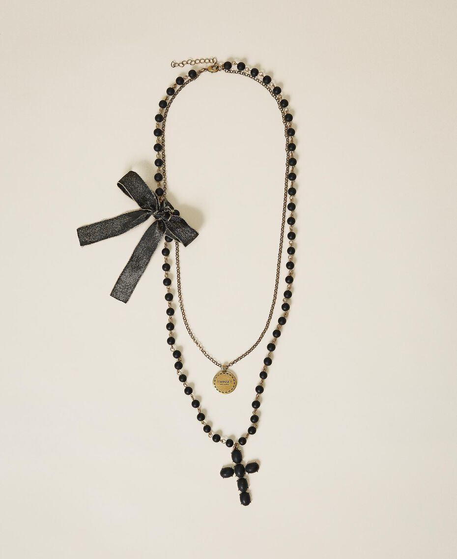 Necklace with charm, cross and bow Black Woman 202TA4315-02