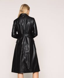 Faux leather trench coat with belt Black Woman 201MP2031-03