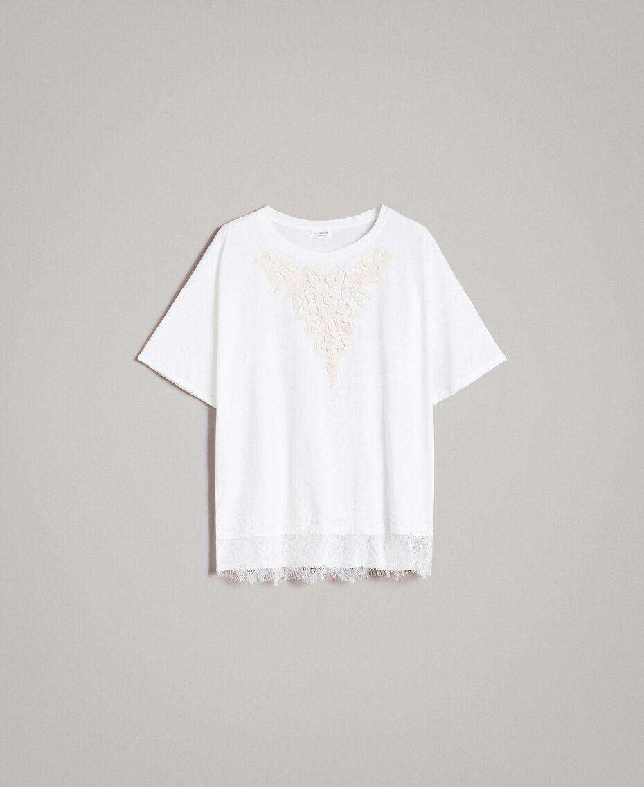 Maxi-T-Shirt mit Spitze Zweifarbig Cremefarben / Ecru Frau 191ST2083-0S