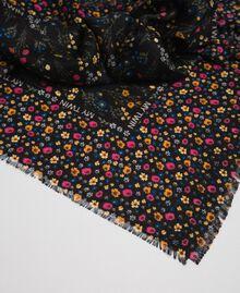 Micro-flower print kefiah with logo Black Mix Floral Print Woman 192MA432D-02