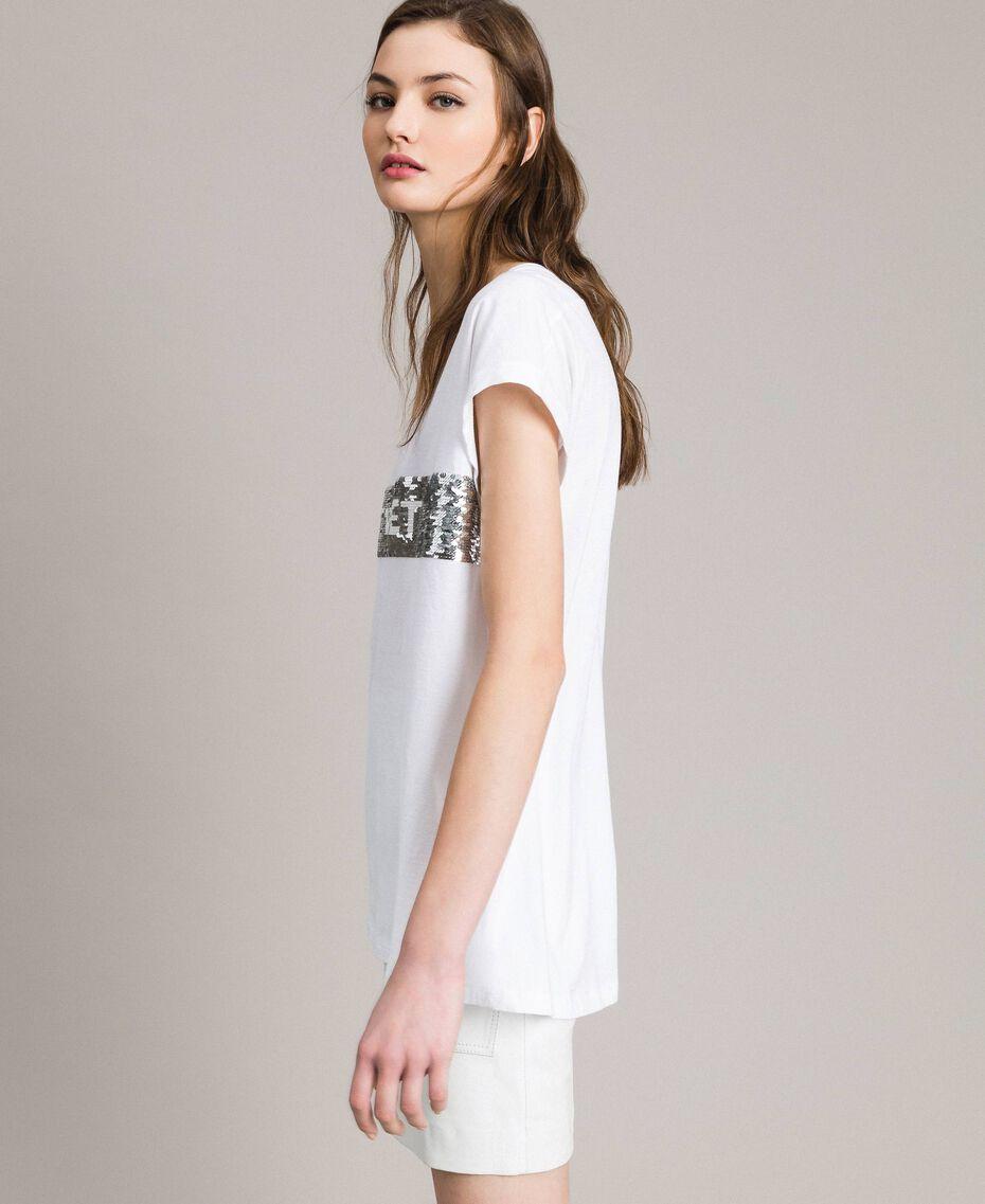 T-Shirt mit Pailletten und Logo Weiß Frau 191TP260E-02