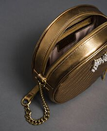 Borsa rotonda a tracolla in pelle Oro Scuro Donna 192TO810F-05