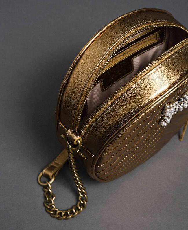 Runde Umhängetasche aus Leder Dunkles Gold Frau 192TO810F-05