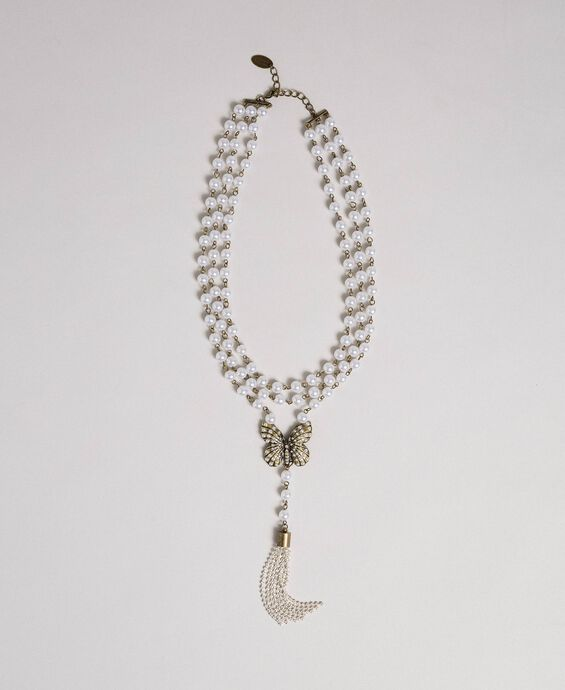 Pearl necklace with butterfly pendant