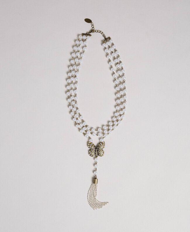 Collier avec rangées de perles et charm papillon Laiton Usé Femme 192TA4360-01