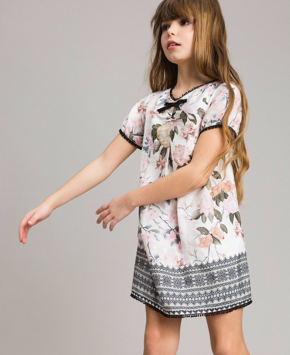 Floral viscose dress with lace print Ramage Butterfly Print Child 191GJ2520-0S