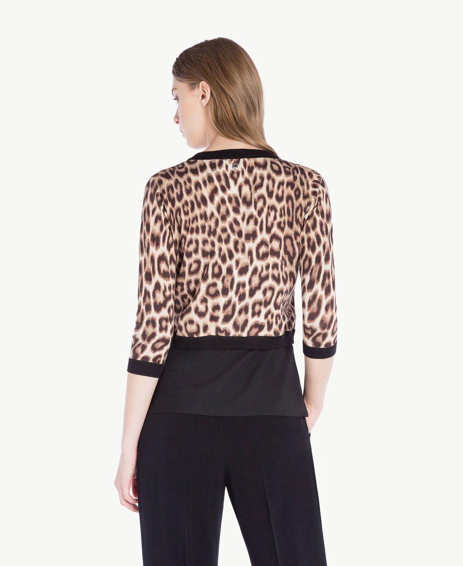Jacke mit Perlen Leopardenprint Frau PS83LD-03