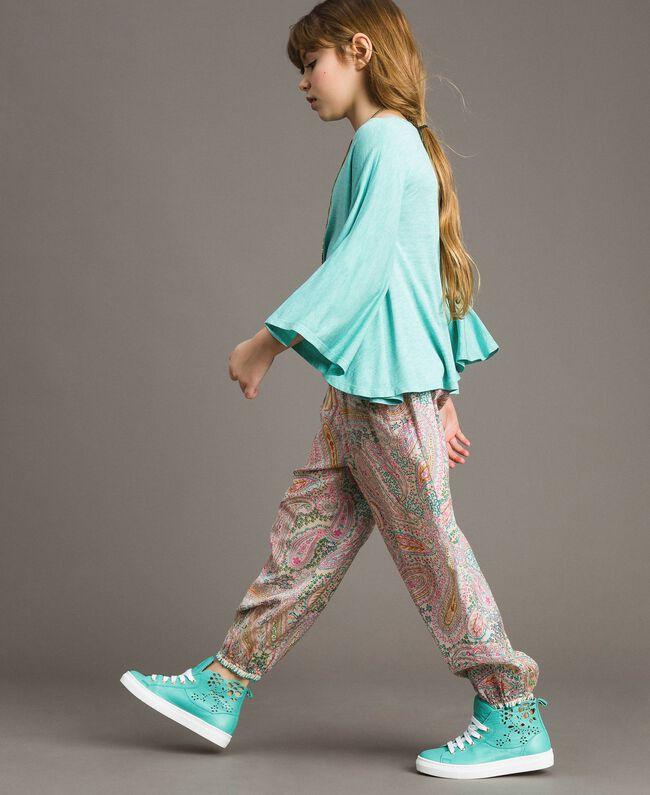 "Jersey T-shirt and multiclour necklace ""Island Paradise"" Light Blue Melange Child 191GJ2720-03"