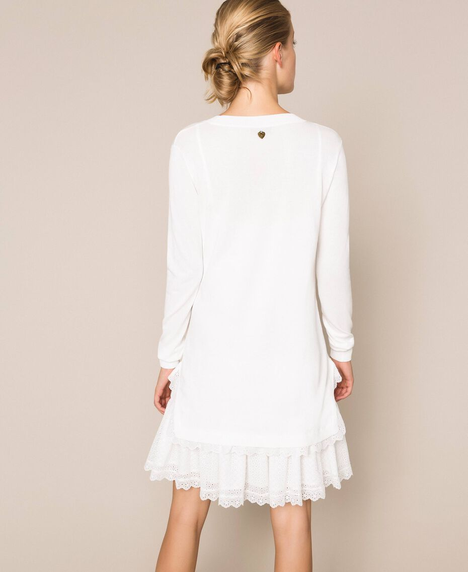 Knitted dress with broderie anglaise flounce White Snow Woman 201TP3041-03