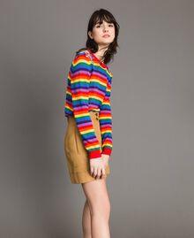 Pullover mit mehrfarbigen Streifen und Blumenapplikationen Regenbogenstreifen Frau 191TP3013-03