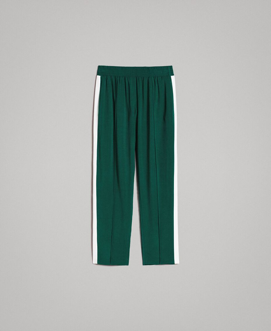 "Georgette trousers Two-tone ""Evergreen"" Green / Silk White Woman 191TP2328-0S"
