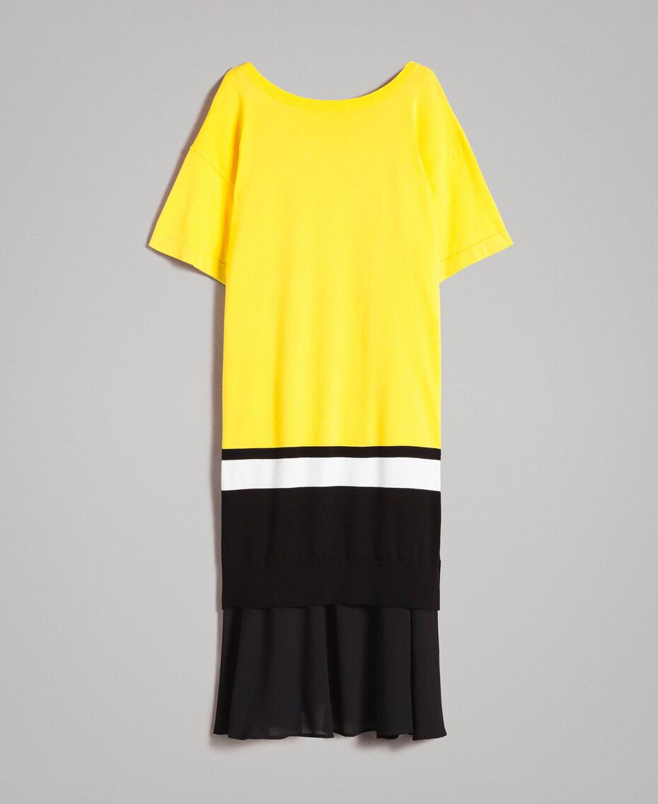 "Long dress with slip Two-tone ""Freesia"" Yellow / Black Woman 191MP3053-0S"