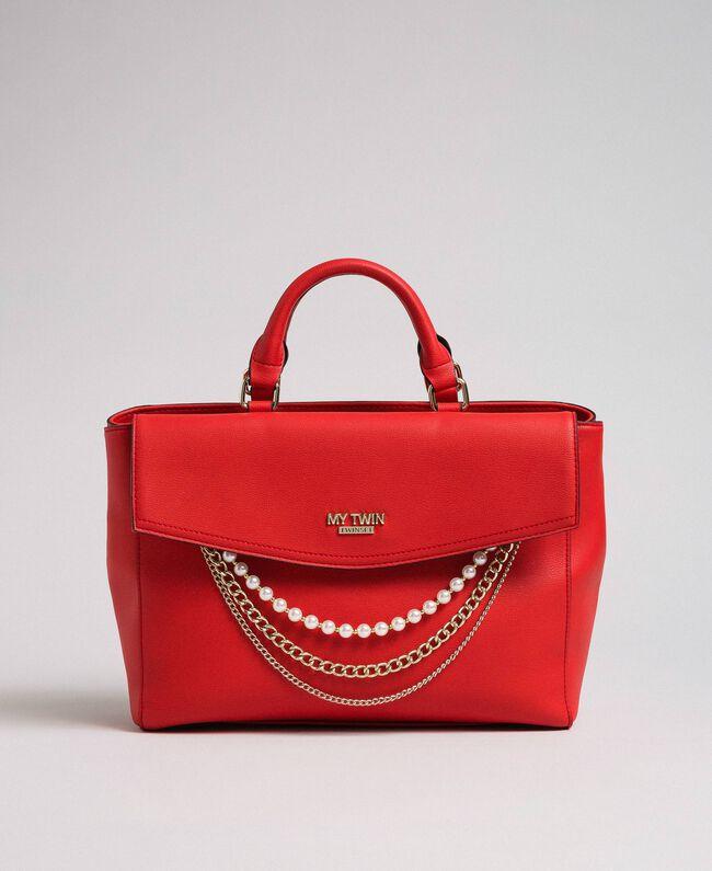 Sac cabas en similicuir avec perles et chaînes Rouge Coquelicot Femme 192MA7053-04