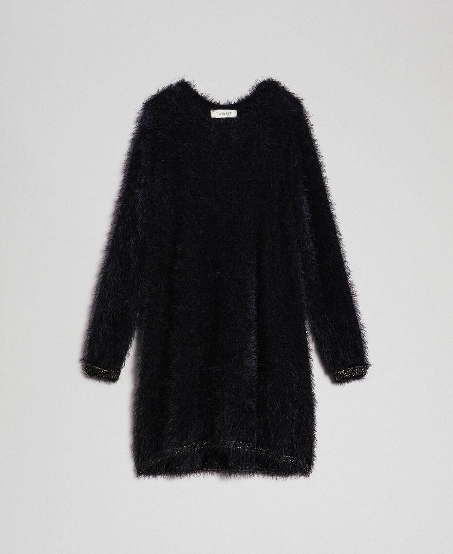 Fur effect knit dress Black Child 192GJ3062-0S