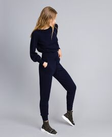 Jogginghose aus Wolle und Kaschmir Nachtblau Frau TA83AA-01