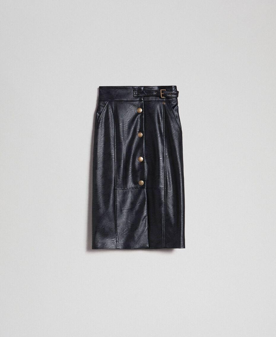 Jupe mi-longue en similicuir Noir Femme 192TT203B-0S