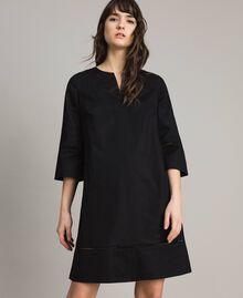 Robe en popeline avec broderie Noir Femme 191TT2242-01