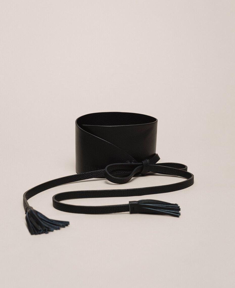 Cinturón de piel con borlas Cuero Mujer 999TA4320-01