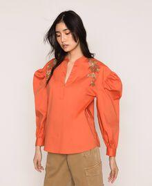 Blouse en popeline brodée Orange Parrot Femme 201TT2130-01