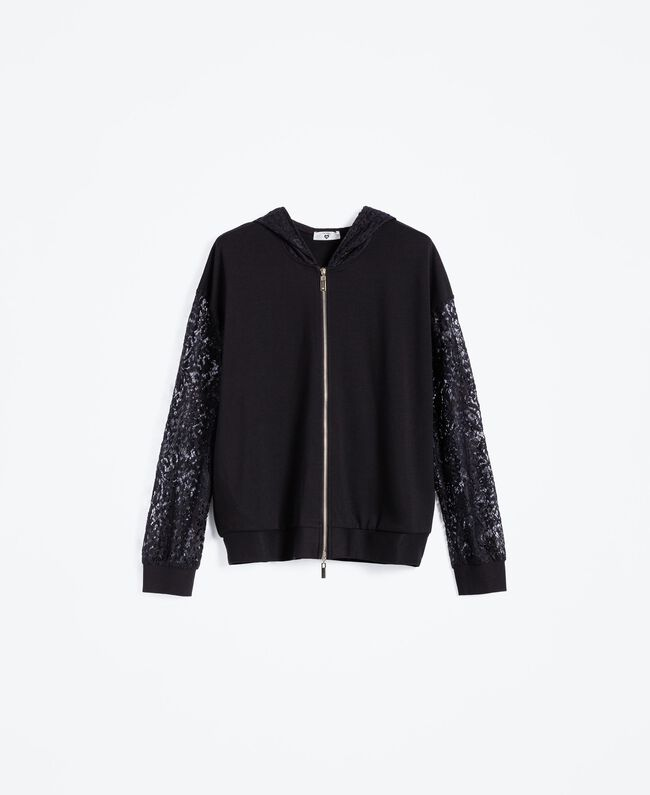 Zip-up viscose sweatshirt with lace Black Woman IA8CEE-01