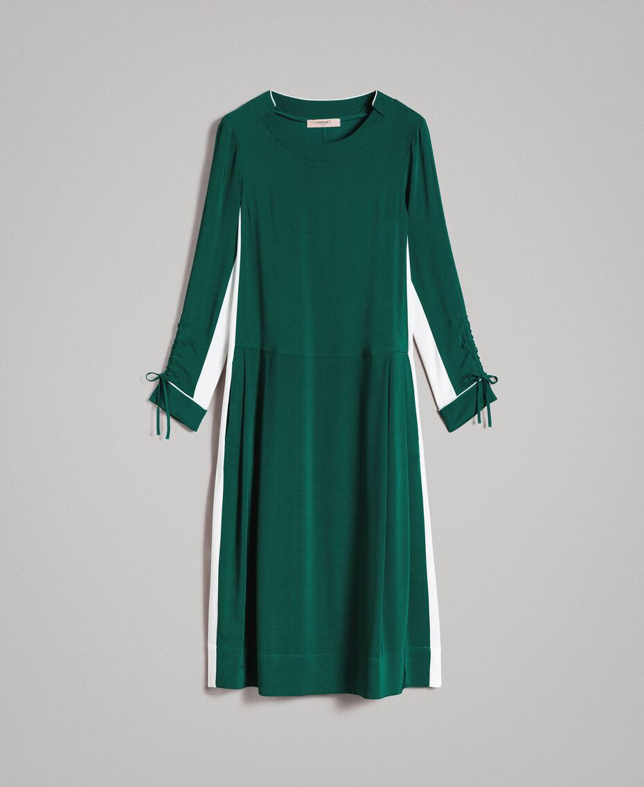 "Mid-length two-colour dress Two-tone ""Evergreen"" Green / Silk White Woman 191TP2325-0S"
