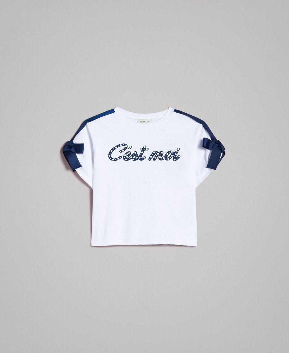 Jersey T-shirt with print and bows Two-tone Optical White / Indigo Child 191GJ2210-01
