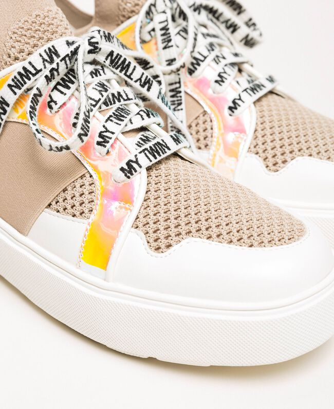 "Sneakers aus Mesh mit Detail aus Lederimitat Multicolor ""Quarz""-Rosa / Vanille / ""Iris""-Grün Frau 201MCP130-04"