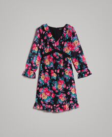 Georgette-Kleid mit Blumenmuster Motiv Schwarze Blumen Frau 191MP2331-0S