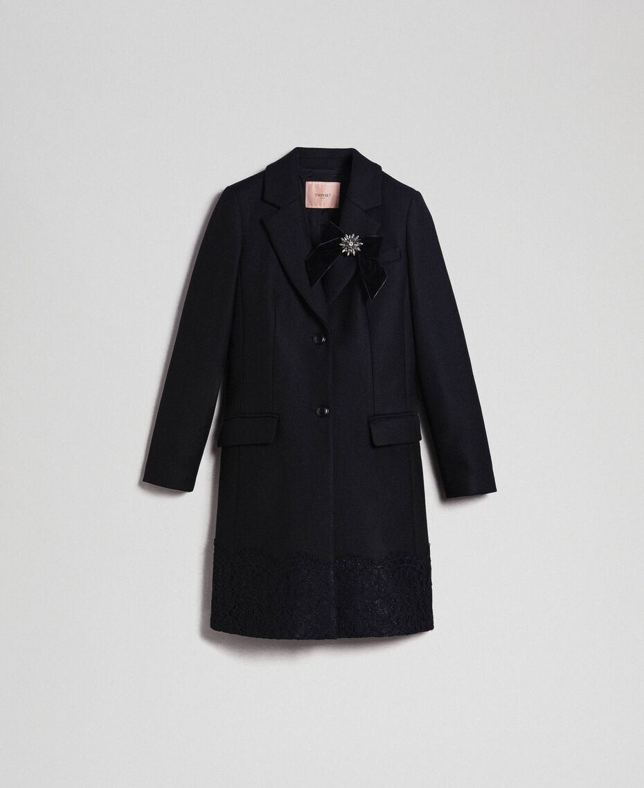 Wool cloth coat with lace Black Woman 192TP2314-0S