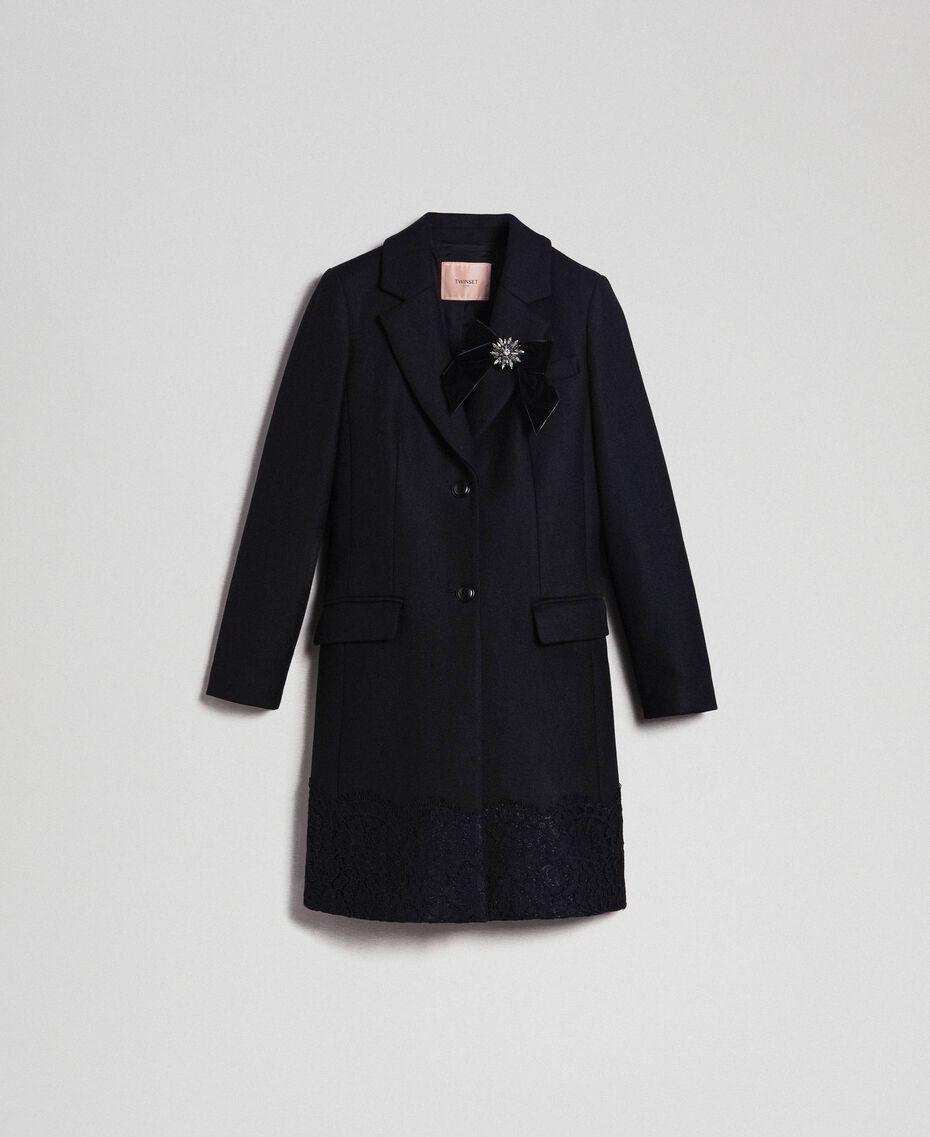 Manteau en drap avec dentelle Noir Femme 192TP2314-0S