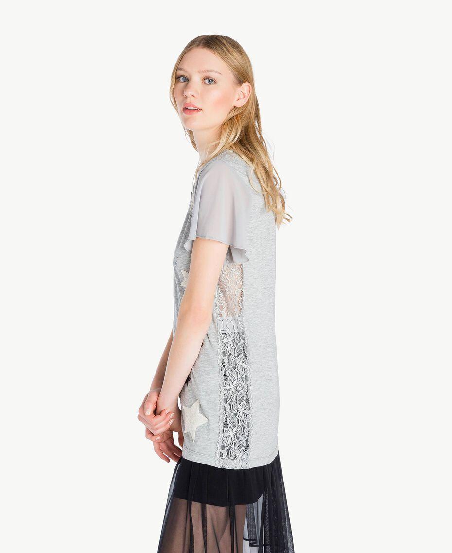 T-shirt paillettes Gris Mélangé Femme JS82RA-02
