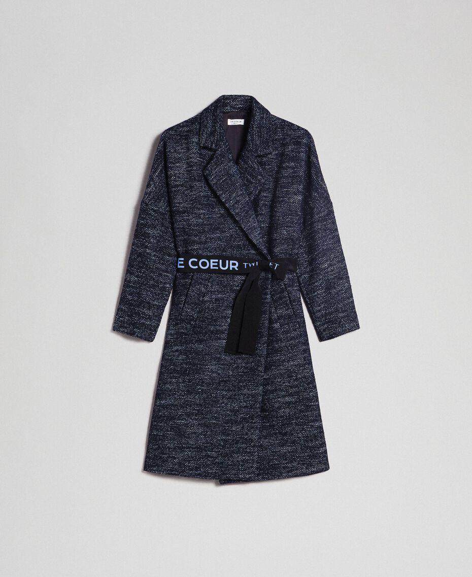 Manteau en drap à chevrons avec ceinture Jacquard Noir / Bleu Nuit Femme 192ST2100-0S