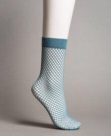 Lurex fishnet socks Mykonos Light Blue Woman 191TA4348-01