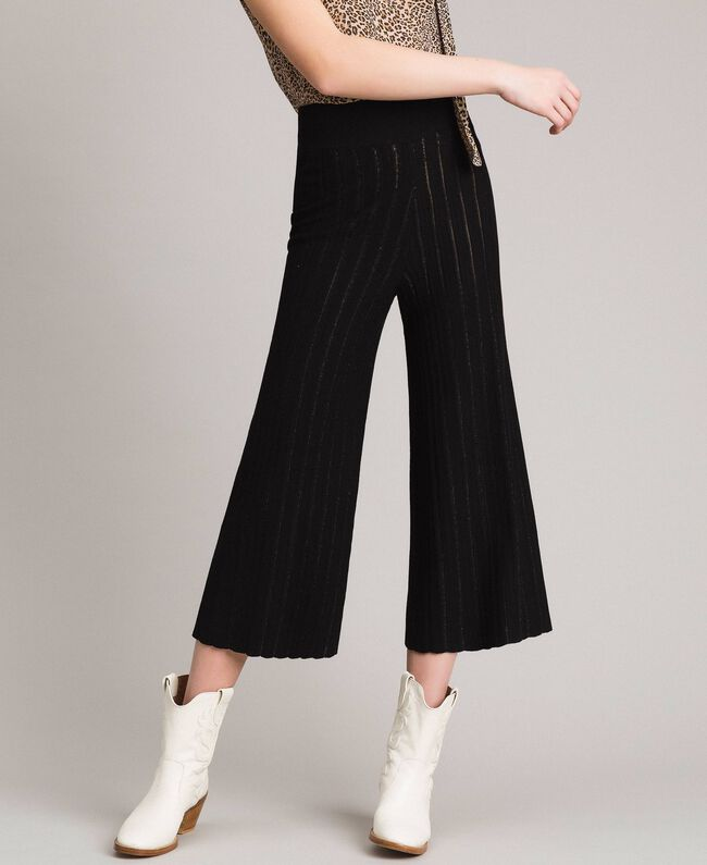 Cropped knit trousers with lurex stripes Black Woman 191TP3251-01