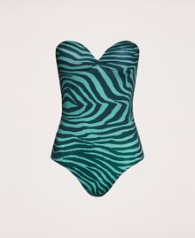 "Printed one-piece swimsuit ""Atlantic Deep"" Green Zebra Print Woman 201LBMGZZ-0S"
